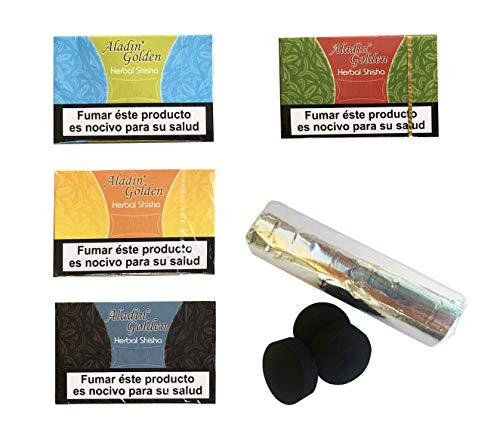 Outletdelocio. Pack 4 Hierba para cachimba Shisha de sabores Variados (Piña, Regaliz, Manzana y Melon) + Pastillas Carbon cachimba