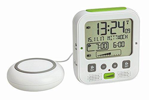 TFA Dostmann Boom Hochleistungs-Funkwecker mit Vibrationsalarm, Weiß, 11 x 6 x 12 cm (Weiss mit Batterien)