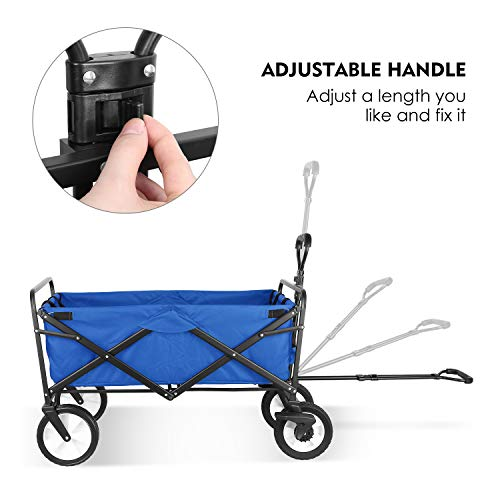 HEMBOR Collapsible Outdoor Utility Wagon, Heavy Duty Folding Garden Portable Hand Cart, with 8