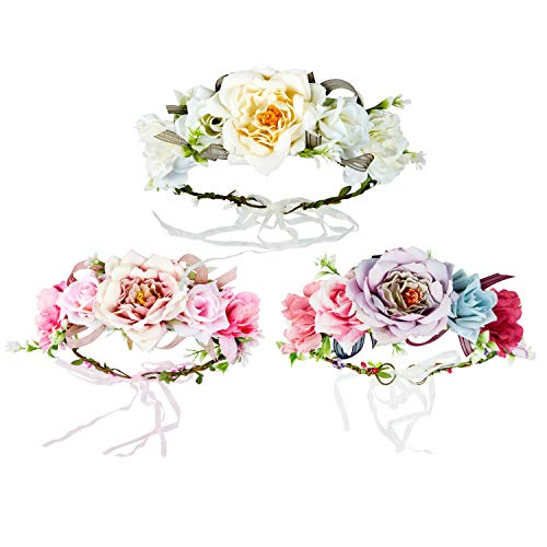 Diealles Shine Blumenkranz Haare, 3 Stück Blumen Stirnband, Mehrfarbig Blumenkrone für Hochsommertag Party Hochzeit Braut Brautjungfer-Stil 1
