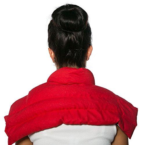 Kirschkernkissen Schulter & Nackenkissen mit Kragen | Bio-Stoff rot | Gute Wärme für den Nacken | Eine Alternative zum Nackenhörnchen