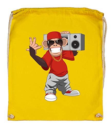 Druckerlebnis24 Turnbeutel - AFFE Gangster Cartoon Zirkus - Stoffbeutel aus Bio Baumwolle