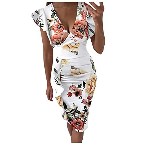 NHNKB Vestido de verano para mujer, de flores, de manga corta, cuello en V, suelto, largo hasta la rodilla, de cintura alta, camisa, vestido de playa, polka Dot Bag., c, L