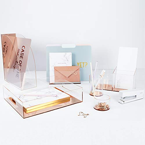"""C.R. Gibson Clear Acrylic File Holder, Mirror Panel, Measures 7.75"""" W x 4"""" H x 4.25"""" D - Rose Gold (LH-20084) Photo #2"""