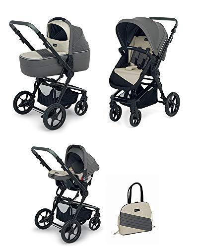 Foppapedretti 3Chic Sistema Combinato, con Passeggino, Navicella, Seggiolino Auto e Borsa, per bambini da 6 mesi a 15 kg, Grigio Ghiaccio