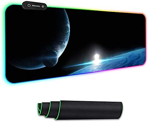 Large RGB Gaming Mouse Mat Pad- Reawul 14 Modes Oversized Glowing Led Extended Mousepad, Anti-Slip Rubber Base and Waterproof Surface, Extra Large Keyboard Mouse Mat - 800 x300 x4 mm