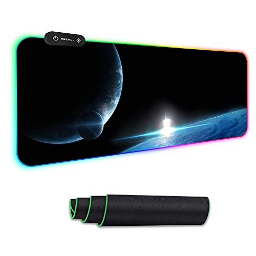 Reawul Gaming Mouse Pad Large - RGB Mouse Pad Soft Oversize Glowing Led Extended Mousepad, Non-Slip Rubber Base Computer Keyboard Mouse Pad, 14 Lighting Modes for Gaming - 31.5 X 11.8in