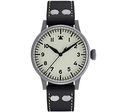 LACO Venedig Herren Armbanduhr, Fliegeruhr, schwarzes Kalbslederband, Saphirglas, Ø 42 mm, ETA 2824.2 Automatik, inkl. Etui - 861894