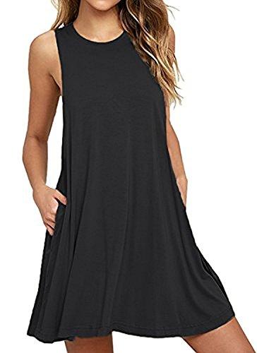 BISHUIGE Summer Casual Dresses Mini Sundress Beach Coverups XL,Black