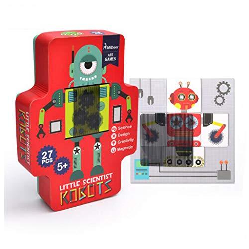 QHWJ Rompecabezas magnético, Gran Pieza de Rejilla Creativo de Juguetes para niños Inteligencia de Desarrollo Juego de Pegatinas Gratis Robot 4-12 años