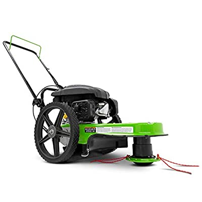 "TAZZ One-Piece Steel Deck, 22"" Cutting Swath, Never Kill, Fold Down Handlebars 35258 Walk-Behind String Mower/Trimmer, 150cc 4-Cycle Gas Engine, Large 14"" Wheels, Green"