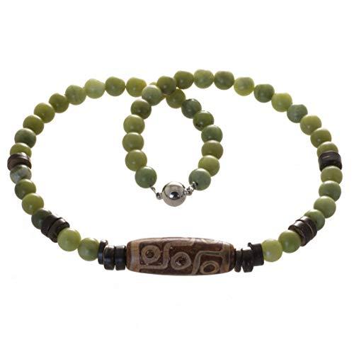 Bella Carina Perlenkette Jade mit großer Achat Perle Edelstahl Magnetverschluss (50)