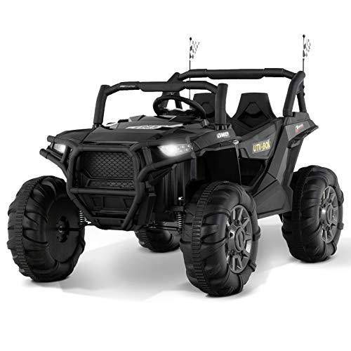 Uenjoy 12V Electric Ride on Cars, Realistic Off-Road UTV, Two Seater Ride On Truck, Motorized Vehicles for Kids, Remote Control, Music, 3 Speeds, Spring Suspension, LED Light (Black)