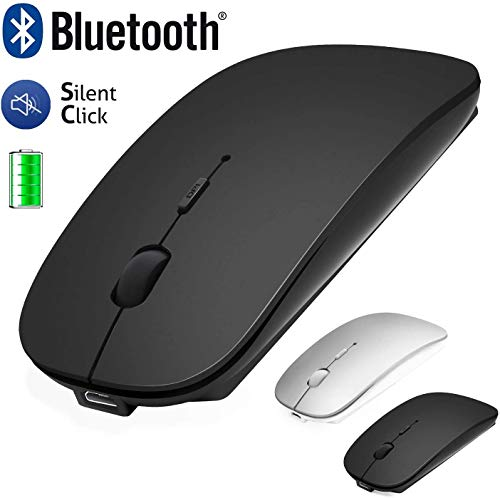 Bluetooth Mouse for Laptop/iPad/iPhone/Mac(iOS13.1.2 and above) / Android PC/Computer, Rechargeable Noiseless Mini Wireless Mouse for Windows/Linux/Mac, 3 DPI +4.0 + 2.4G Silver/Black Black