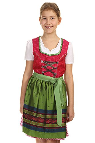 Isar-Trachten Kinder Jungend Dirndl Teenie Dirndl rot mit Bluse und Schürze