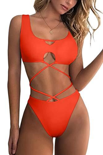 ESONLAR Bikini Swimsuit for Women Cut Out Strappy Sexy U-Collar Crop Top High Cut Bikini Set Orange L