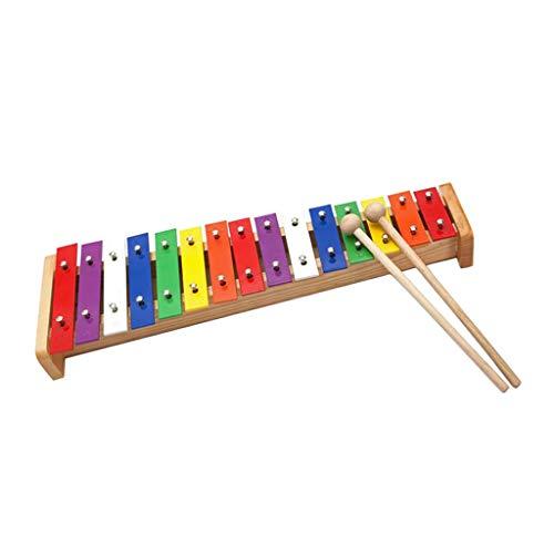 chiwanji Juego de Mazo de Xilófono Glockenspiel de 15 Notas, Juguetes Musicales para Niños