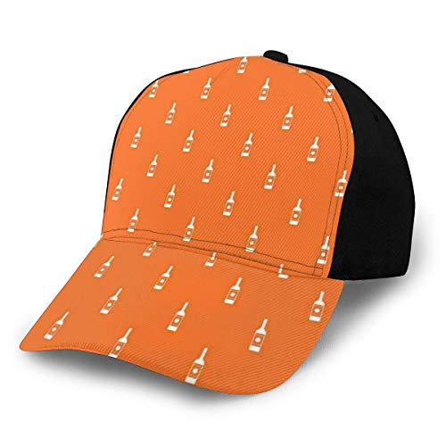 Hip Hop Sun Hat Baseball Cap,Simplistic Abstract Silhouette Vodka Bottles Pattern In Repeating Order...