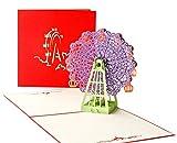DEESOSPRO® [Tarjeta de Cumpleaños] [Tarjeta de Aniversario] [Tarjeta de Graduación] con Patrón Emergente 3D Creativo, Regalo para Cumpleaños, Graduación, Navidad, Día del Padre (Rueda de la fortuna)