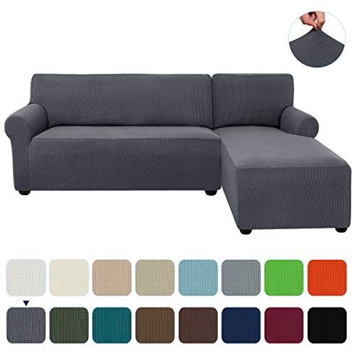 subrtex 2-Piece L Shape Sectional Sofa Slipcovers with Right Chaise Sleeves Jacquard High Stretch Furniture Protector 2 Seater Couch Cover for Living Room (Gray)