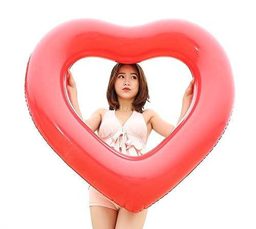 Anillo De Natación para Adultos Anillo De Natación De Amor Anillo Flotante En Forma De Corazón Engrosado Fila Flotante De Agua 120*120cm Rojo