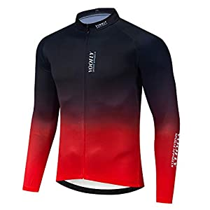 Men's Bike Jersey Long Sleeve Cycling Shirts with Pockets Reflective Full Zipper MTB Bicycle Wear