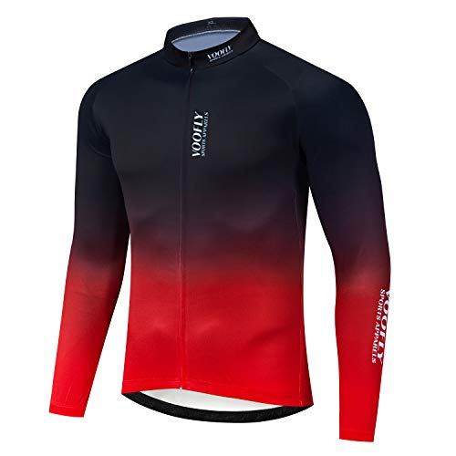 Road Bike Jersey Mens Long Sleeve Reflective Cycling Shirts Full Zipper Bicycle Clothes Tops Blue Red X-Large