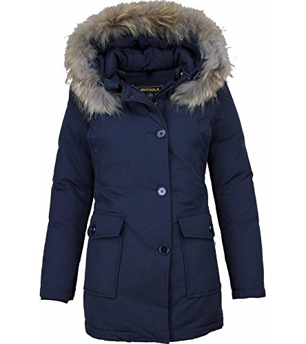 Dames Winterjas Wooly Lang - Bontkraag - Parka Steekzakken - Blauw