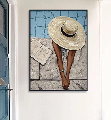 Moderno Bikini Mujer Póster e impresión Piscina Azul Moda Belleza Arte de la Pared Pintura en Lienzo para la Sala de Estar Decoración del hogar-50x70cm sin Marco