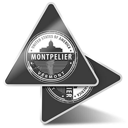 2 pegatinas triangulares de 7,5 cm - BW - Montpelier Vermont United States USA Fun Calcomanías para ordenadores portátiles, tabletas, equipaje, reserva de chatarra, neveras #40624