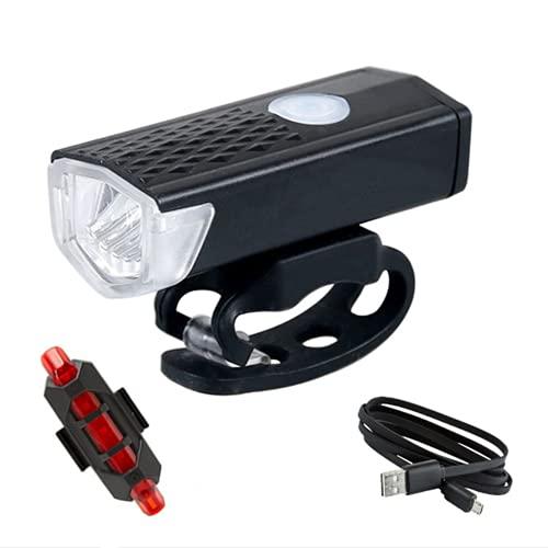 Luz delantera y luz trasera de la bicicleta Luz delantera y trasera trasera superbrillantes Luz de carga USB para conducción nocturna adecuada para todas las bicicletas