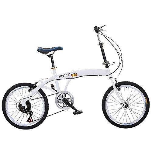 20 Inch Vouwfiets, Mannen En Vrouwen Met Variabele Snelheid Adult Giveaway Car, Double V Brake Outdoor Student Bikes,White,20inch