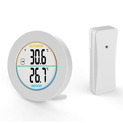 EXTSUD Digital Innen- und Außenthermometer, Funk Thermometer mit Außensensor, Innen Außentemperatur Monitor mit LCD Display, MIN/MAX-Aufzeichnungen, Trendtemperaturänderung, ℃/℉ Schalter, MEHRWEG