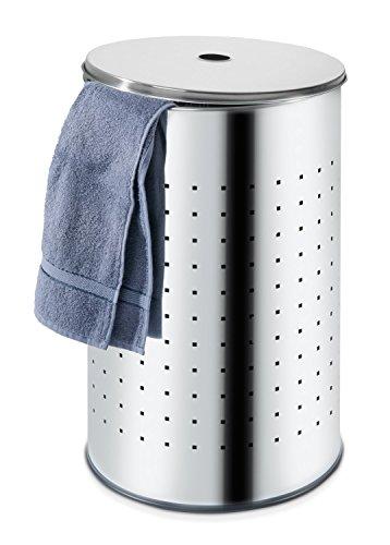 Wäschetonne Wäschesammler Wäschekorb | Edelstahl glänzend | ca. 37 Liter | 54 cm hoch
