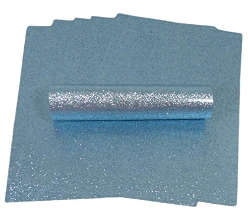 A4 Glitter Paper Sparkly Soft Touch Non Shed Thick 150gsm / 40lb Paper 10 Sheets (Pale Blue)