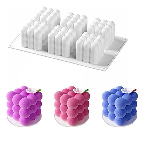 HENGBIRD 6 en 1 DIY Velas Forma 3D Bola Cube, Silicona para Artesanía, Velas aromáticas, Ornamentos, Yeso, Fondant Soya, Cera hecha a mano, Jabón para fundir (Blanco)