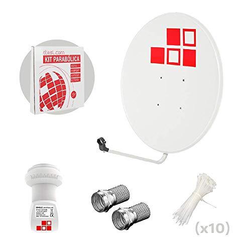 Diesl.com - Kit Antenas parabólicas de televisión satélite Digital - 80cm + LNB + Conectores + 10x Bridas
