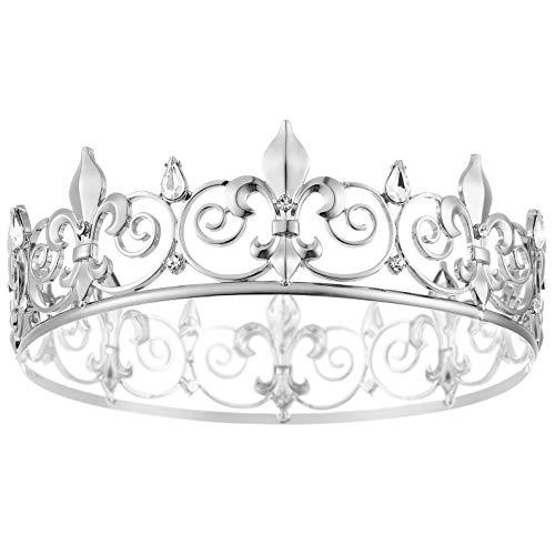 Coucoland Corona della regina del Medio evo da uomo, con strass, tiara da uomo, corona di compleanno, ballo, carnevale e base metal, colore: argento, cod. Ar-Headband342