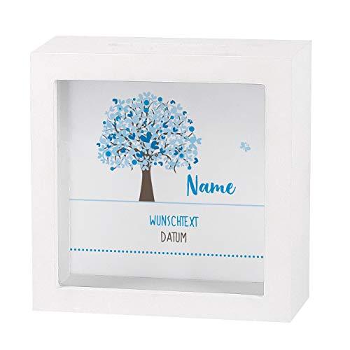 Striefchen® Spardose zur Taufe/Geburt/Kommunion/Konfirmation eines Kindes mit Namen und Geburtsdatum als Geldgeschenk Lebensbaum Jungen