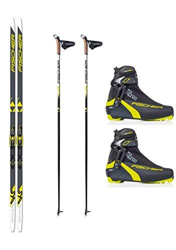 Fischer - Set sci di fondo LS Skate Skating Skier + attacchi + scarpe + bastoncini, giallo.