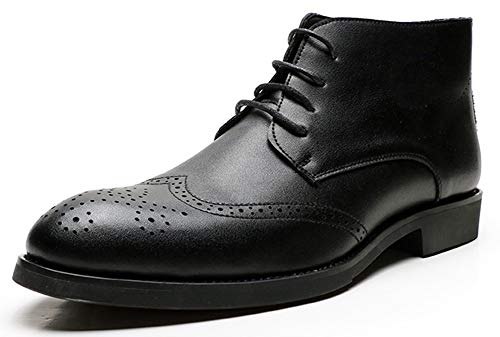 Mens Black Chelsea Boots With Lace, Black Oxford High Top Loafers - Mens Fashion Dress Shoes & Chukka Boots for Men Size 8