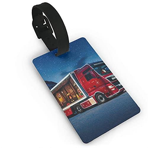 Etiquetas de Equipaje Camión navideño Etiqueta de Nombre de PVC Maleta de Viaje Etiquetas de identificación de identificación Etiqueta de Equipaje Duradera