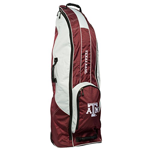 Team Golf NCAA Texas A&M Aggies Travel Golf Bag, High-Impact Plastic Wheelbase, Smooth & Quite Transport, Includes Built-in Shoe Bag, Internal Padding, & ID Card Holder