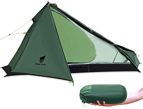 Upgrade Ultralight 3 Season 1 Person Tent for Camping Backpacking Hiking Travelling - Single Trekking Pole Tents (Not Include The Pole) Easy to Set Up