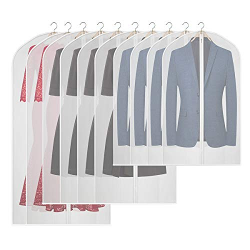 KEEGH Hanging Moth-Proof Garment Bags for Storage Set of 10 Lightweight Suit Covers Dress Protector Bag for Closet Clothes- 43''/54''/ 60''