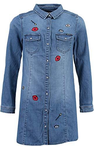Garcia meisje jeans blousejurk met patches Blue Aged
