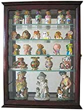 Small Wall Mountable Curio Cabinet Shadow Box, with Glass Door, Mirrored Back, CD06 (Cherry)