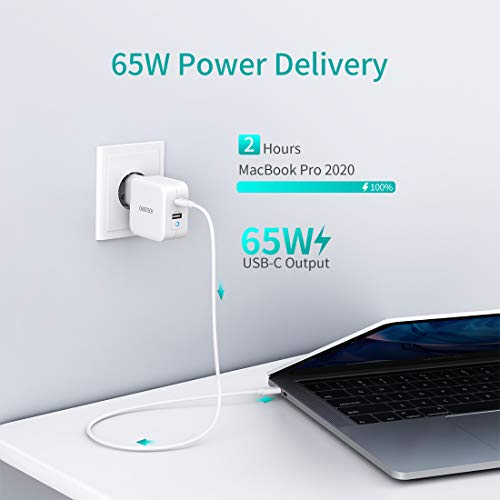 CHOETECH PD 65W Ladegerät mit GaN Tech, Dual Port Ladegerät mit 45W USB-C und 12W USB-A,Power delivery 3.0 für MacBook Pro/Air,iPad Pro,iPhone12/iPhone11/11Pro Max/XS/SE,Galaxy,Huawei,Nintendo Switch