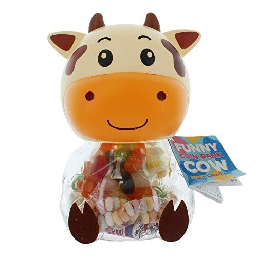 Spardose Kuh mit 144g Süßwaren-Füllung, leckere Mischung mit Jelly Beans, süße Halskette, Kaubonbons (Braun)