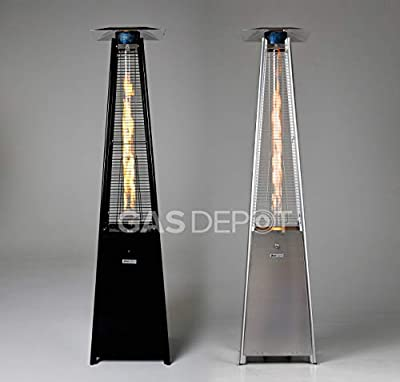 Gasdepot Real Flame Outdoor Pyramid Patio Heater (13KW) - Black, Stainless Steel or Rattan Edition